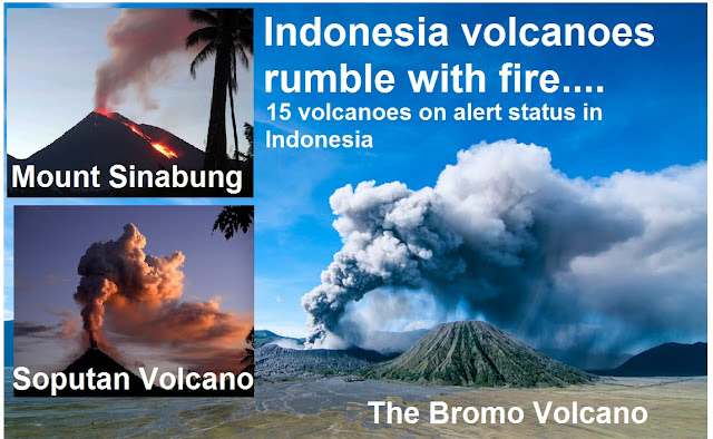 Indonesian volcanoes rumble with fire!  Untitled