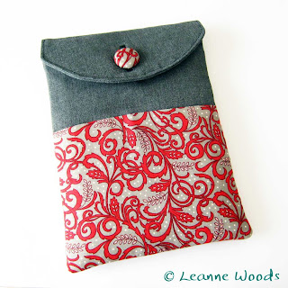 Handmade Kindle Case in Designer red floral cotton accented with charcoal grey