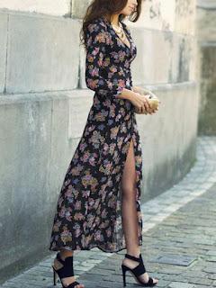 V-neck floral slit dress from Romwe