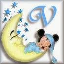 Alfabeto de Mickey Bebé durmiendo en la luna V.