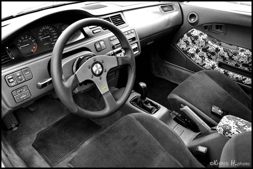 日本車, チューニングカー, ホンダ, Honda civic coupe, VTEC, D15, B16, kultowy, piękny, japoński samochód, sportowy, usportowiony, JDM, tuning, modified, tuned, wnętrze, interior