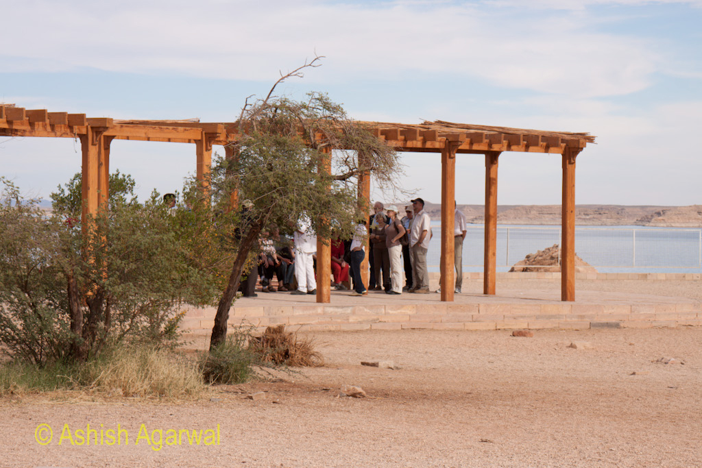 Tourists at a metal structure near the Abu Simbel temple in south Egypt