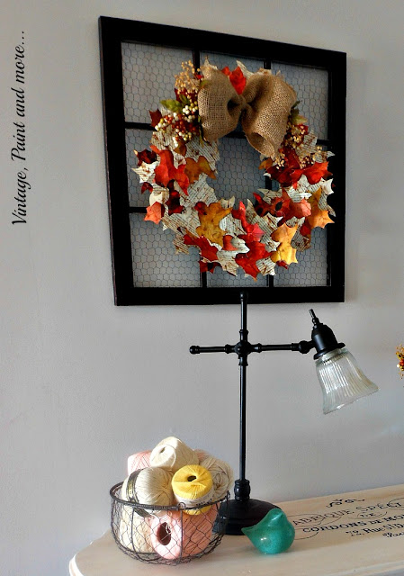 Vintage, Paint and more... chalk painted and stenciled table, recycled thrift store lamp and faux window with paper wreath