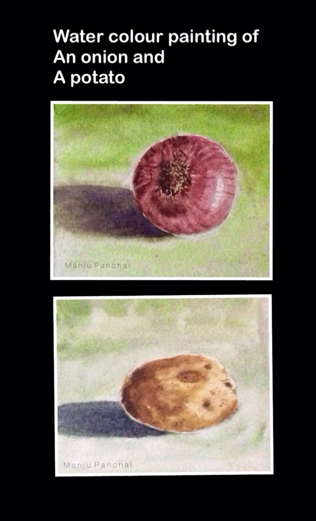still life painting of an onion and a potato by Manju Panchal