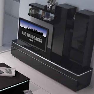 Meuble TV conforama noir laqué