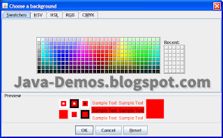 Screenshot of JColorChooser Example