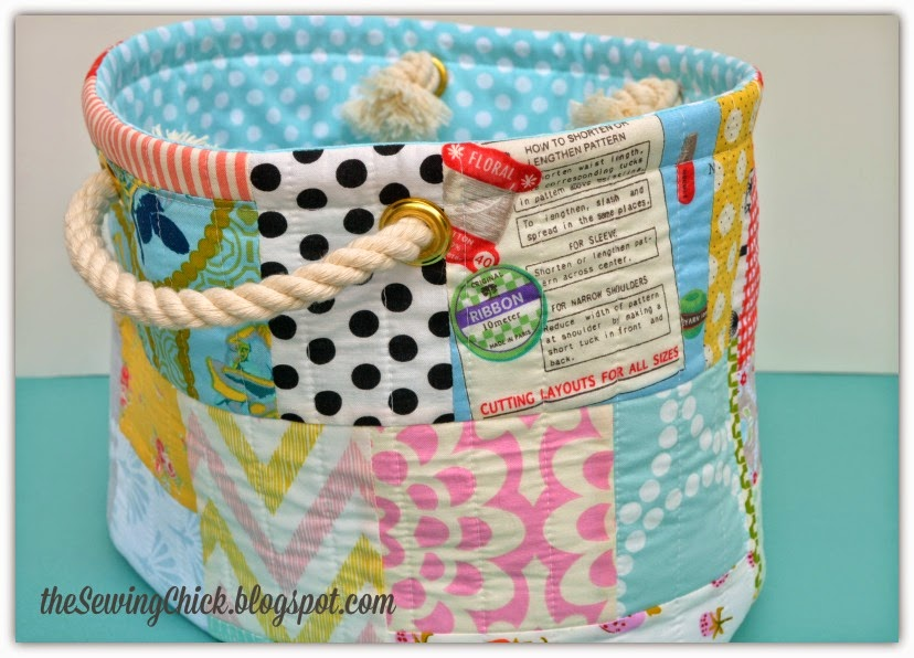 scrappy patchwork bucket the sewing loft the sewing chick