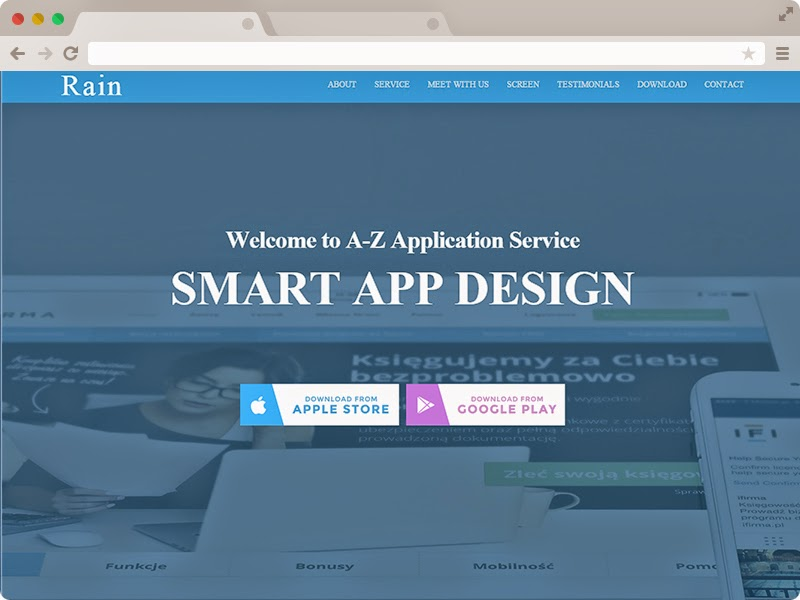 Technext Free Responsive HTML App Landing Page Template Rain - Html welcome page template