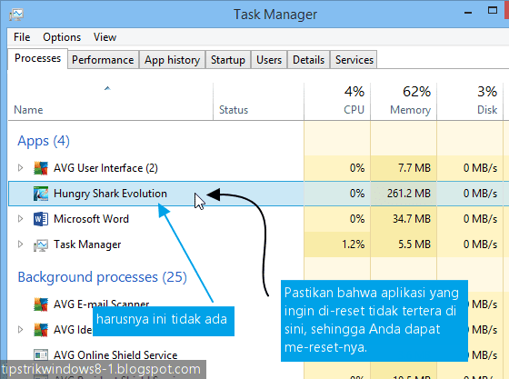 Cara Reset Data Aplikasi Windows 8.1 7