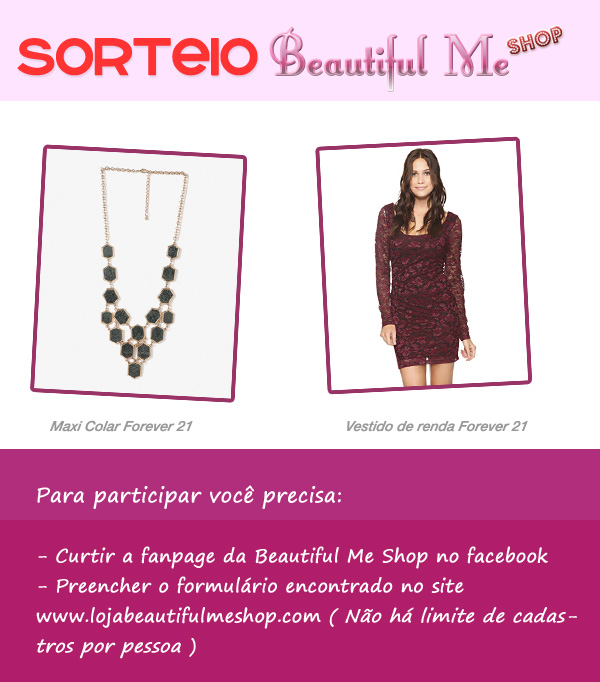 sorteio de vestido e maxi colar beautiful me shop