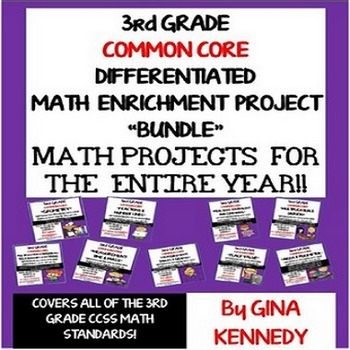 3rd Grade Common Core Math Projects To Use All Year! All Standards!