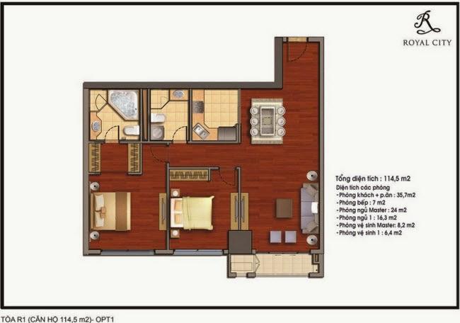 mặt bằng căn hộ 114.5m2 tòa R1 Royal City Nguyễn Trãi