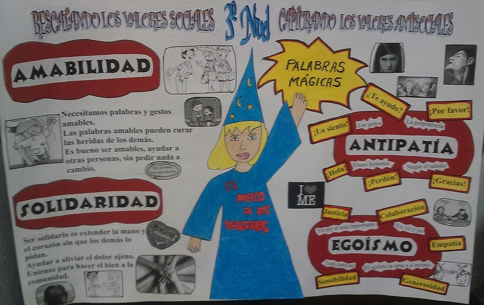 El mago de los valores con sus palabras m gicas mochila56 for Diario mural en ingles