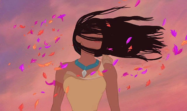 Pocahontas with her hair in a twister