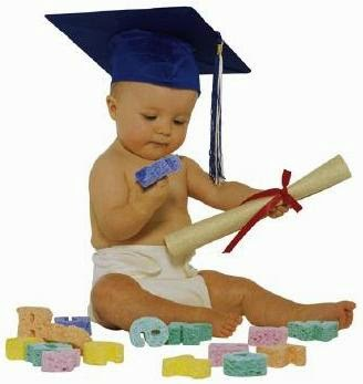 baby with a diploma