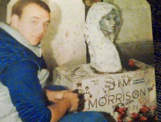 Billy Scire at Jim Morrison's grave side Paris, France May 4, 1983