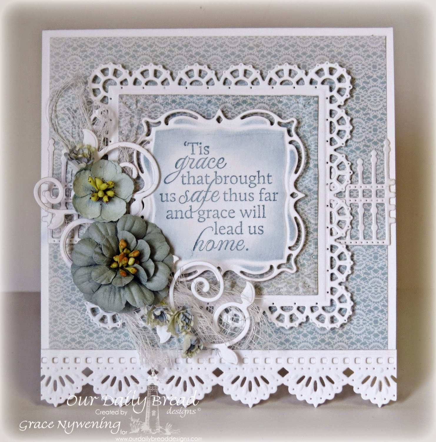 ODBD Stamps: How Sweet the Sound, ODBD Dies: Layered Lacey Squares, Beautiful Borders, Fancy Foliage, Gilded Gate, Designed by Grace Nywening