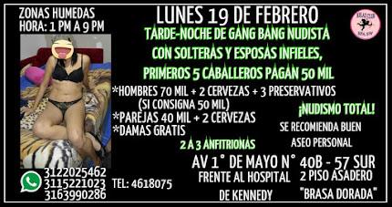 LUNES 19 DE FEBRERO DE 1 PM A 9 PM GANG BANG CON LINDAS CHICAS