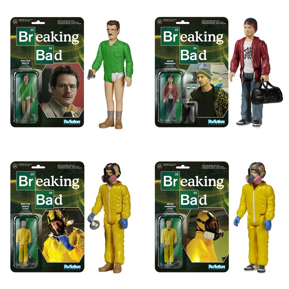 "Breaking Bad ReAction Wave 1 Retro Action Figures by Funko & Super7 - ""Episode 1"" Walter White, Jesse Pinkman, ""Cook"" Walter White & ""Cook"" Jesse Pinkman"