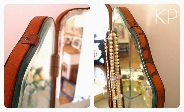 Comprar espejo antiguo tipo biombo para tocador o baño.