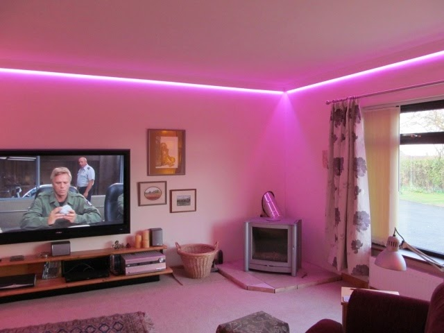 Modern False Ceiling Led Lights Living Room With Pink LED Lighting