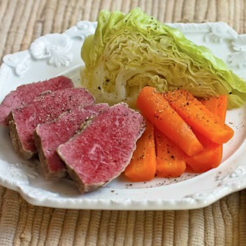 Slow Cooker Corned Beef with Vegetables and Horseradish Sauce found on KalynsKitchen.com