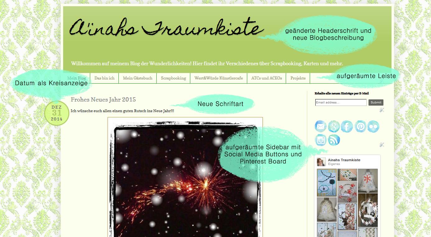 Bild meines Blogs mit Sprechblasen und Text, wo ich was geändert habe