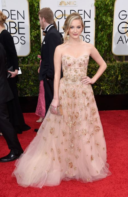 Greer Grammer in a nice Lorena Sarbu dress at the Golden Globes 2015