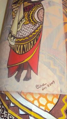 Africana, pintura acrílica sobre telha