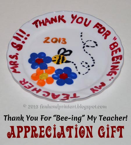 Fingerprint Plate Teacher Appreciation Thank You Gift 