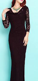 Three Quarter Sleeve Full Lace Black Maxi