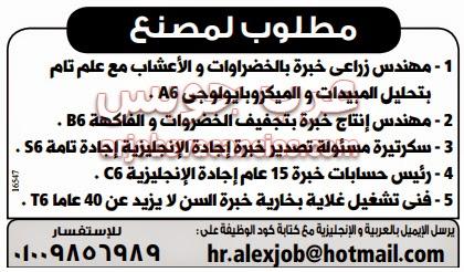 وظائف خالية في مصنع بالاسكندرية أبريل 2015