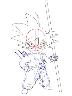 cara menggambar Goku kecil tahap 16