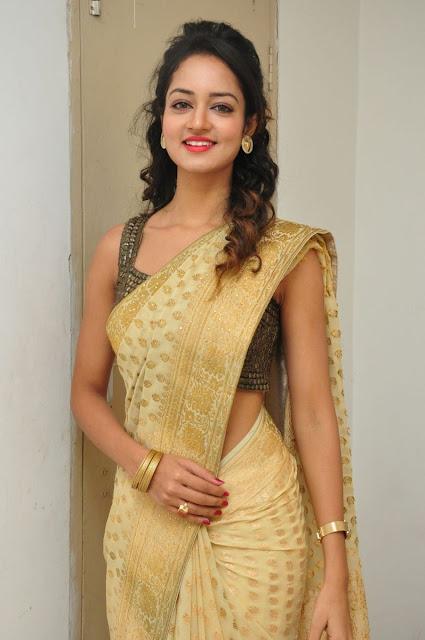 Shanvi Looks Beautiful Slim in Beautiful Saree and Sleeveless Blouse at Harinath Wedding Reception