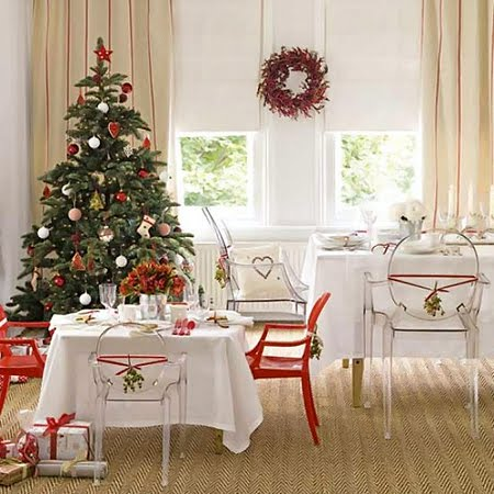 Коледна украса за дома в червено