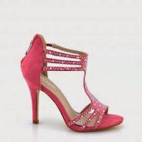 Sandale dama roz cu toc si strasuri