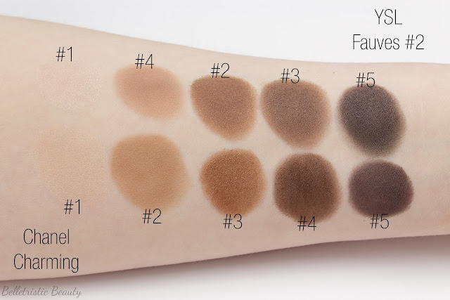 Yves Saint Laurent Fauves 2 Eyeshadow Couture Palette 5 Color Ready To Wear swatch comparison in studio lighting