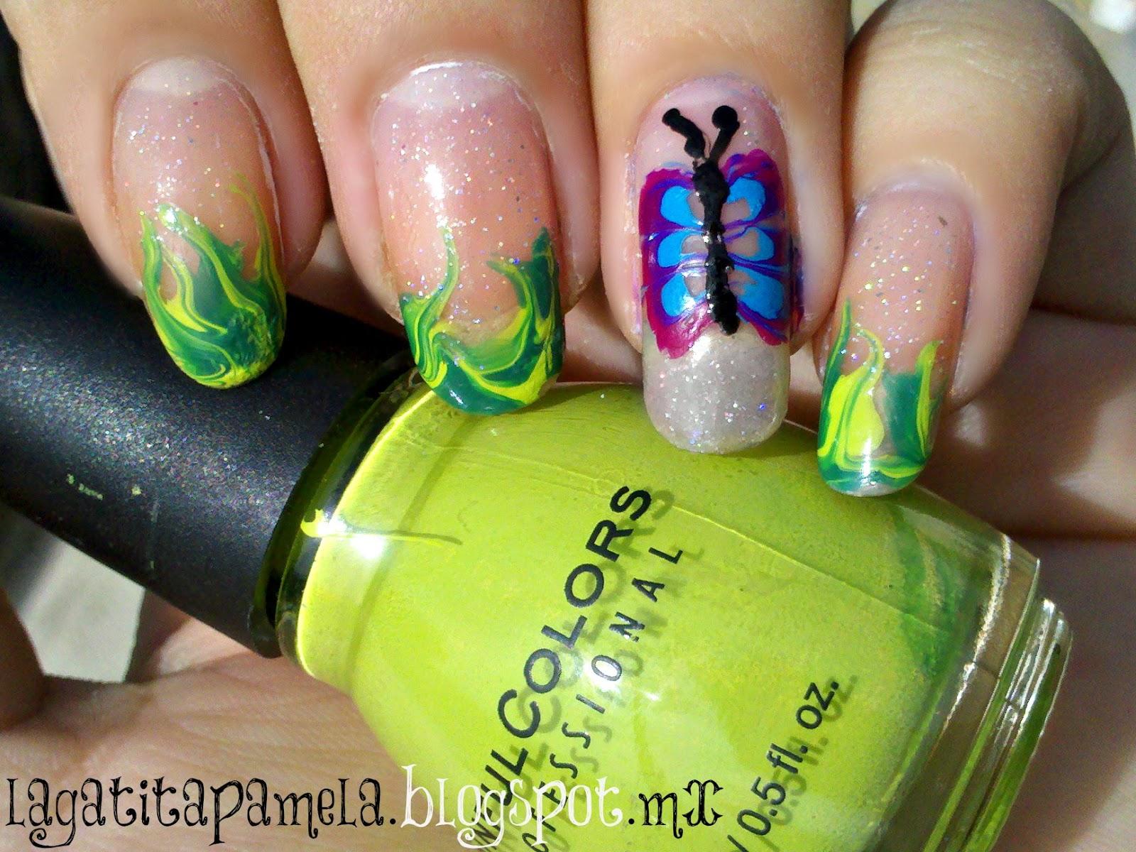 Pamela\'s Nails: no water marble butterfly -mariposa marmoleada sin agua
