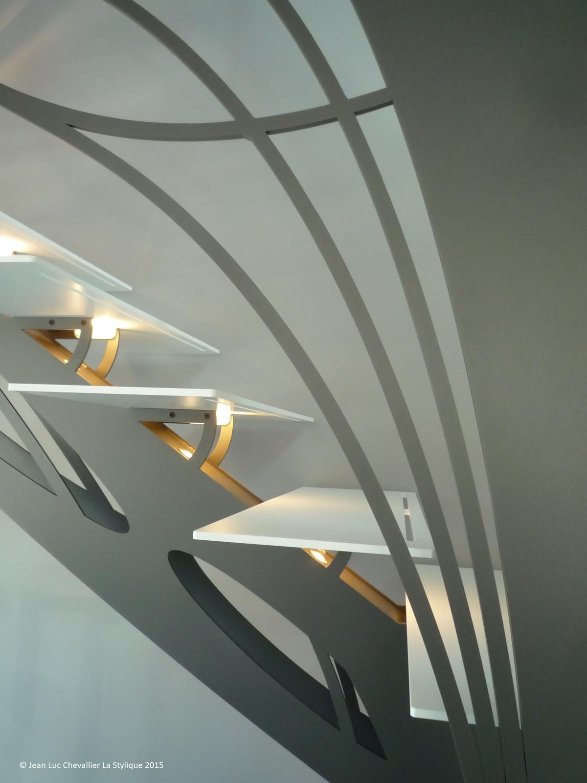 La stylique escalier double quart tournant sculpture chic et design - Architectuur escalier ...