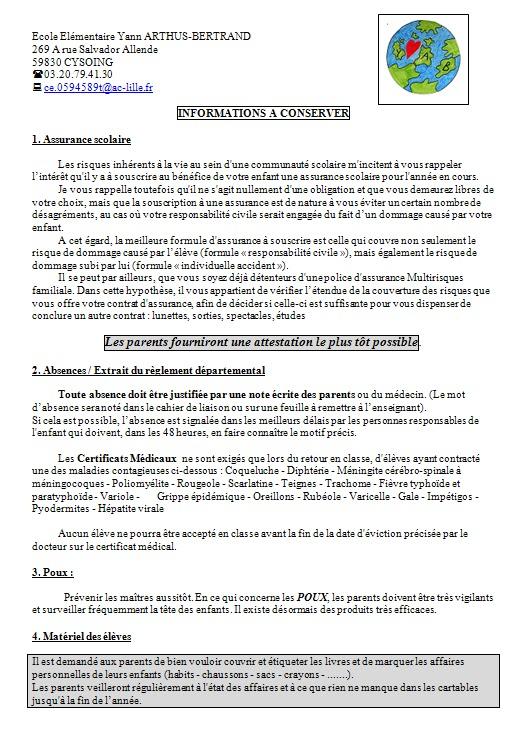 Ecole Yann Arthus Bertrand Cysoing : Informations de rentrée
