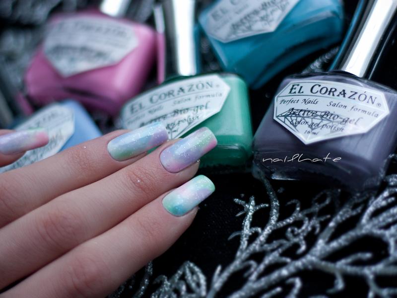 watercolour nail art EL Corazon active bio-gel jelly #423/42, #423/43, #423/44, #423/48, #423/61