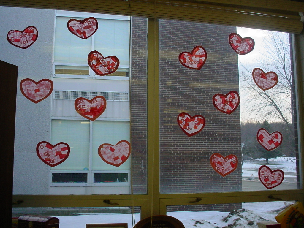 Classroom window decoration - One More Valentine Decoration