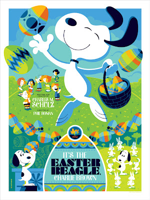 "Dark Hall Mansion - ""It's the Easter Beagle, Charlie Brown!"" Peanuts Standard Edition Screen Print by Tom Whalen"