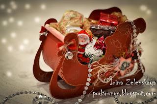 новогодние сани конфетница