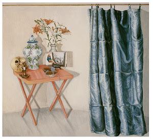 Vanitas con cortina azul