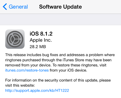 Apple Rilis iOS 8.1.2 ringtones iTunes