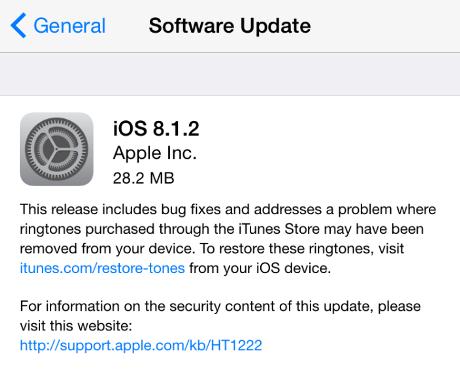 Apple Rilis iOS 8.1.2 ringtones iTunes