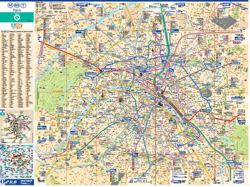 Paryż metro mapa i ulicr mapa turystyczna Paryża Paris map