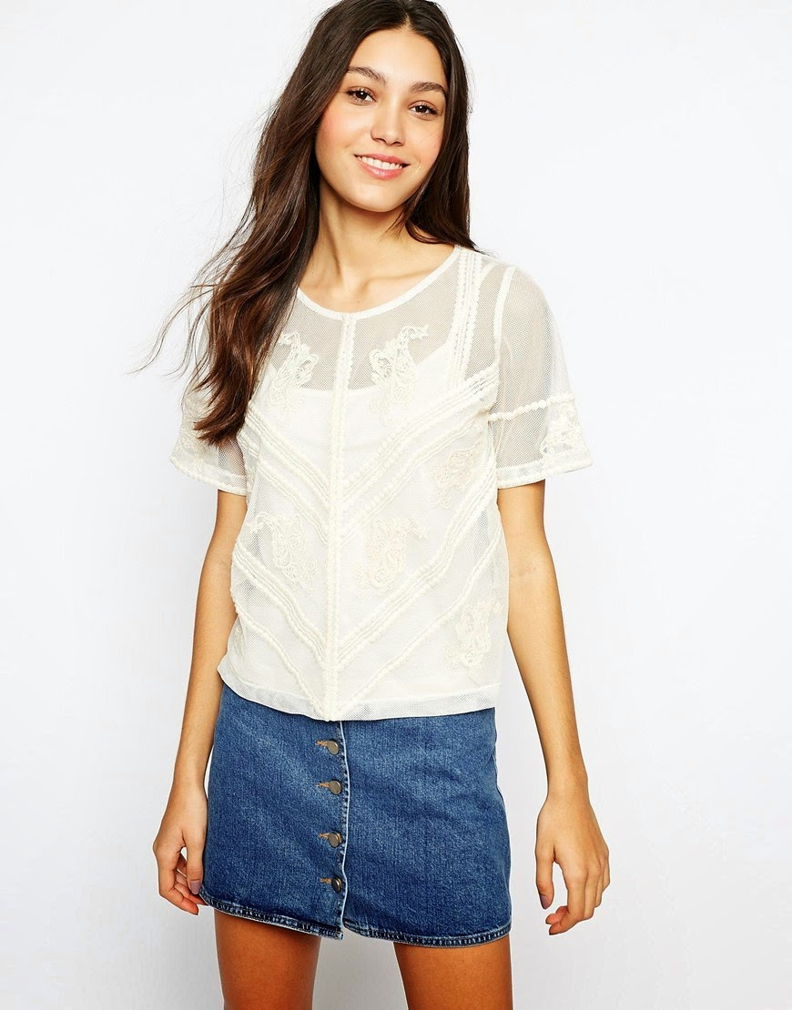 esprit white sheer top