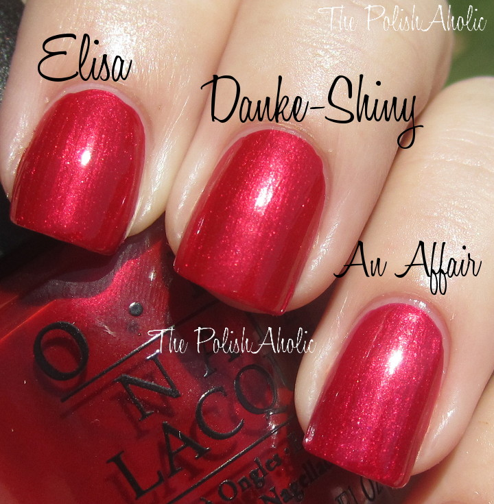 Opi Danke Shiny Red Vs Zoya Elisa The Color Minnie Initially When I Saw Thought It Would Be A Dupe Of